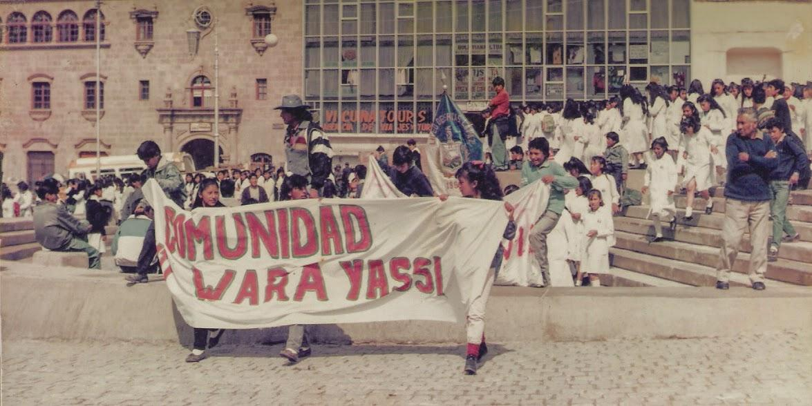 Bolivian students march in support of wildlife and conservation in La Paz during the early days of CIWY